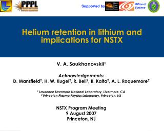 Helium retention in lithium and implications for NSTX