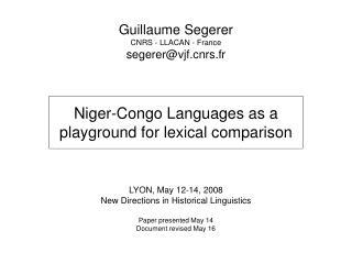 Guillaume Segerer CNRS - LLACAN - France segerervjfrs.fr