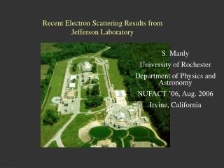 Recent Electron Scattering Results from Jefferson Laboratory