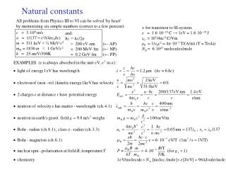 Natural constants