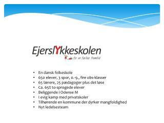 En dansk folkeskole 650 elever, 3 spor, 0.-9., fire  obs-klasser