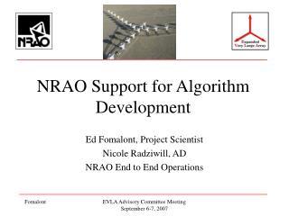 NRAO Support for Algorithm Development