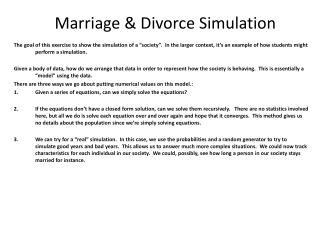 Marriage & Divorce Simulation
