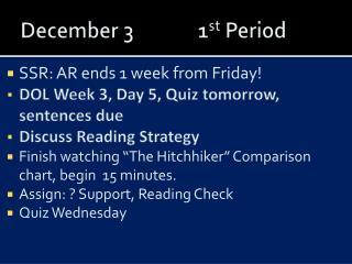December 31 st  Period