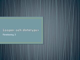 Loopar och datatyper