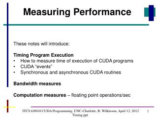 ITCS 6/8010 CUDA Programming, UNC-Charlotte, B. Wilkinson, April 12, 2012 Timing