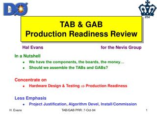 TAB & GAB Production Readiness Review