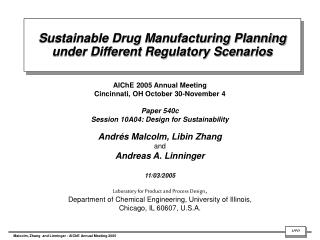 Sustainable Drug Manufacturing Planning under Different Regulatory Scenarios