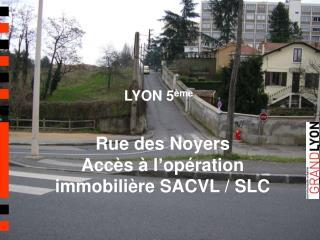 Rue des Noyers Accès à l'opération immobilière SACVL / SLC