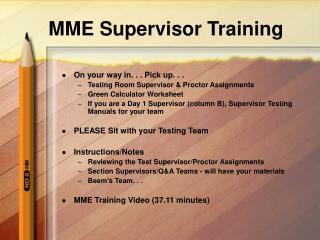 MME Supervisor Training