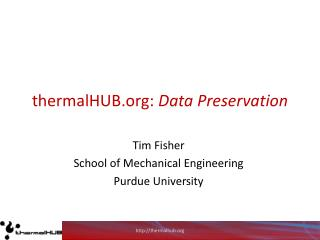 thermalHUB:  Data Preservation