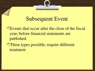 Subsequent Event