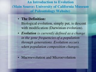 An Introduction to Evolution