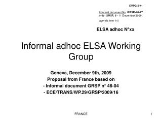 Informal adhoc ELSA Working Group