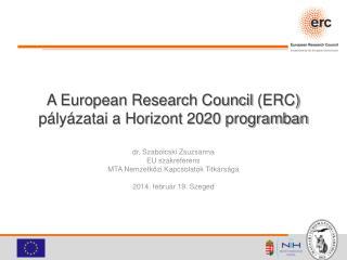 A European Research  Council  (ERC) pályázatai a Horizont 2020 programban