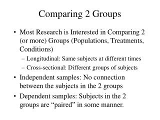 Comparing 2 Groups