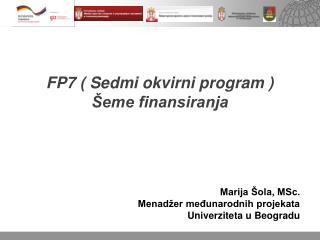 FP7 ( Sedmi okvirni program )  Šeme finansiranja