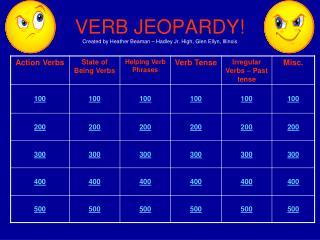 VERB JEOPARDY! Created by Heather Beaman – Hadley Jr. High, Glen Ellyn, Illinois