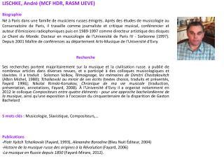 LISCHKE, André (MCF HDR, RASM UEVE) Biographie