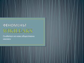 Ф E НОМЕНЪТ WIKILEAKS