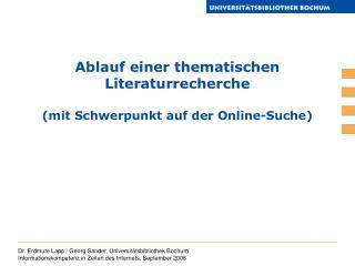 Ablauf einer thematischen Literaturrecherche (mit Schwerpunkt auf der Online-Suche)