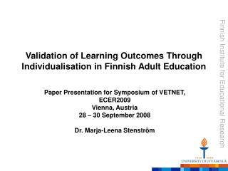 Validation of Learning Outcomes Through Individualisation in Finnish Adult Education