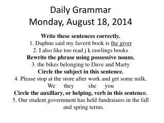 Daily Grammar Monday, August 18, 2014