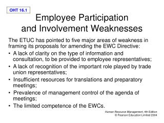 Employee Participation  and Involvement Weaknesses
