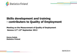 Skills development and training - contributers to Quality of Employment