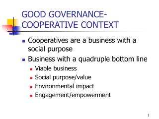 GOOD GOVERNANCE- COOPERATIVE CONTEXT