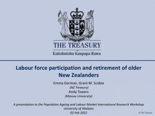 Labour force participation and retirement of older New Zealanders