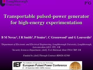 Transportable pulsed-power generator for high-energy experimentation