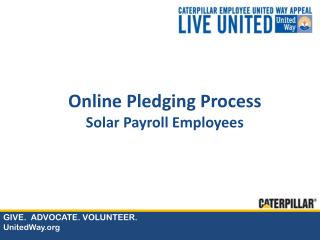 Online Pledging Process Solar Payroll Employees