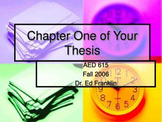Chapter One of Your Thesis