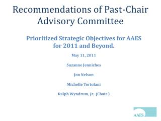 Recommendations of Past-Chair Advisory Committee
