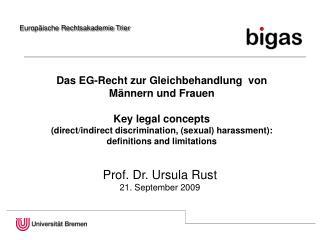 Das EG-Recht zur Gleichbehandlung  von Männern und Frauen  Key legal concepts