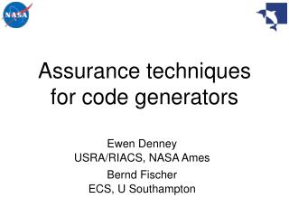 Assurance techniques  for code generators