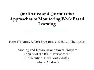 Qualitative and Quantitative Approaches to Monitoring Work Based Learning