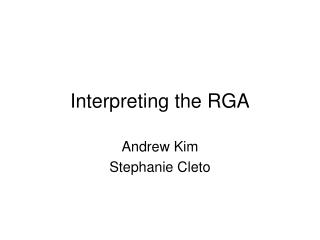 Interpreting the RGA