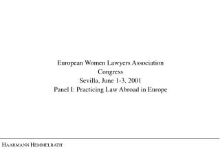 European Women Lawyers Association Congress Sevilla, June 1-3, 2001