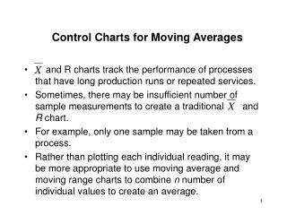 Control Charts for Moving Averages