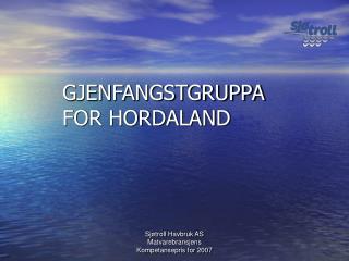 GJENFANGSTGRUPPA FOR HORDALAND