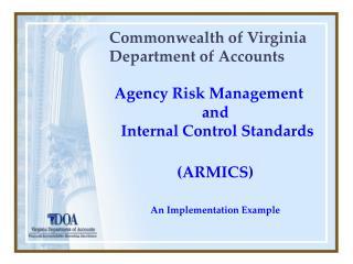 Commonwealth of Virginia  Department of Accounts