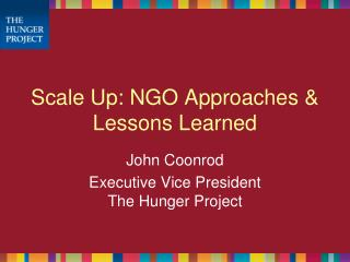 Scale Up: NGO Approaches & Lessons Learned