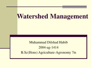 Watershed Management