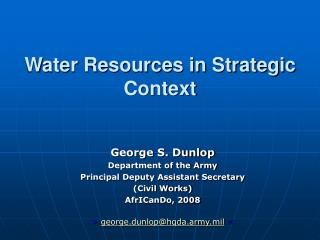 Water Resources in Strategic Context