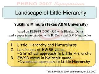 Landscape of Little Hierarchy