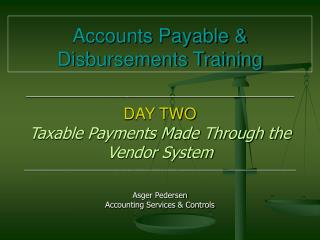 Accounts Payable & Disbursements Training