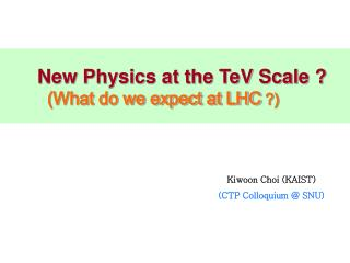 New Physics at the TeV Scale ? (What do we expect at LHC  ?)