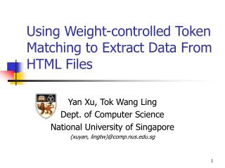 Using Weight-controlled Token Matching to Extract Data From HTML Files